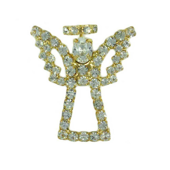 Sparkling Gold Crystal Angel with Crystal Wings and Halo Brooch Pin - Lilylin Designs