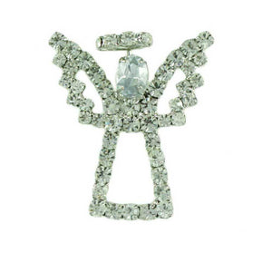 Sparkling Silver Crystal Angel with Crystal Wings and Halo Brooch Pin - Lilylin Designs