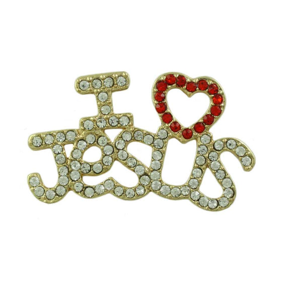 Gold Crystal I Love Jesus with Red Heart Religious Brooch Pin - Lilylin Designs
