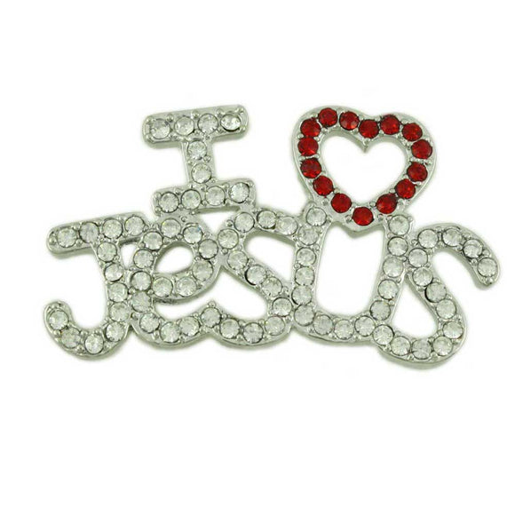 Silver Crystal I Love Jesus with Red Heart Religious Brooch Pin - Lilylin Designs