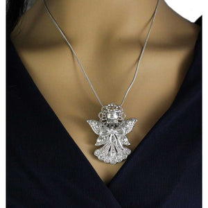Silver-tone Crystal Angel with Bow Pin (necklaced) - Lilylin Designs