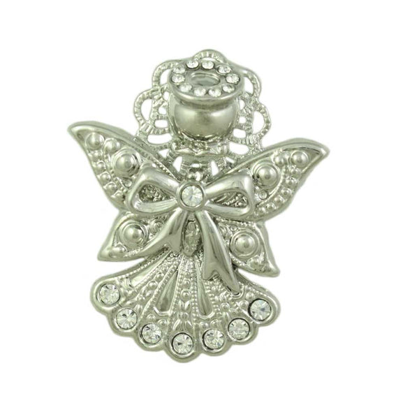 Silver-tone Crystal Angel with Bow Pin - Lilylin Designs