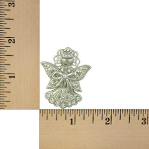 Silver-tone Crystal Angel with Bow Pin (sized) - Lilylin Designs