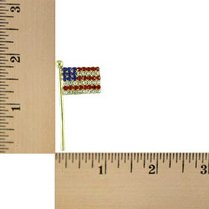 Gold-plated Crystal American Flag Patriotic Brooch Pin (sized) - Lilylin Designs