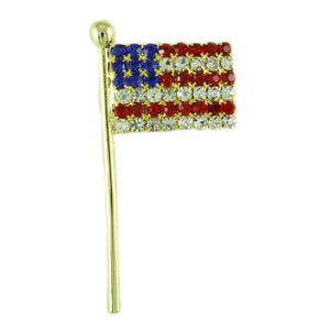 Gold-plated Crystal American Flag Patriotic Brooch Pin - Lilylin Designs