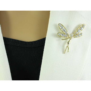 Model with Gold-plated and Clear Crystal Fairy Brooch Pin - Lilylin Designs