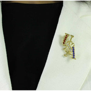 Model with Gold and Crystal USA Patriotic Brooch Pin and Earring Gift Set (pin) - Lilylin Designs