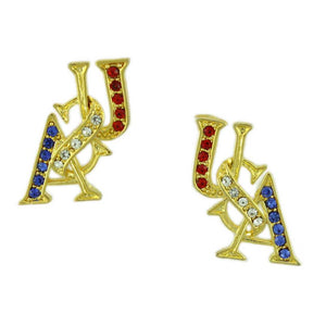 Gold and Crystal USA Patriotic Brooch Pin and Earring Gift Set (er) - Lilylin Designs