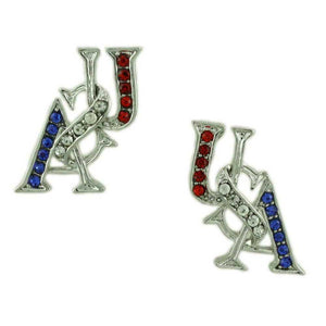 Silver-tone Crystal USA Patriotic Brooch Pin & Earring Jewelry Gift Set (er) - Lilylin Designs