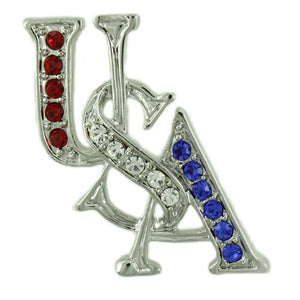 Silver-tone Crystal USA Patriotic Brooch Pin & Earring Jewelry Gift Set (pin) - Lilylin Designs