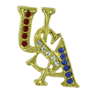 Gold and Crystal USA Patriotic Brooch Pin and Earring Gift Set (pin) - Lilylin Designs