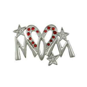 Silvertone Red Crystal Heart Mom Pin - Lilylin Designs