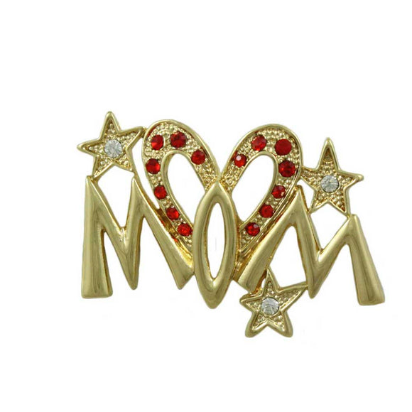 Goldtone Red Heart Mom with Crystal Star Pin - Lilylin Designs
