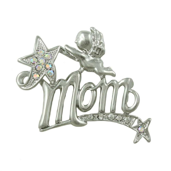 Silvertone MOM with Cherub Pin