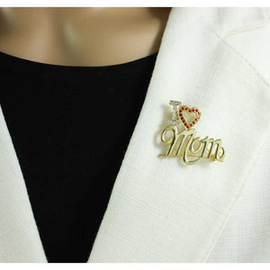 Model with Gold-plated I Love Mom with Red Crystal Heart Brooch Pin - Lilylin Designs