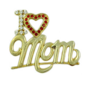 Gold-plated I Love Mom with Red Crystal Heart Brooch Pin - Lilylin Designs