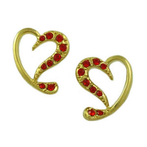 Gold-plated Red Crystal Stylized Heart Pierced Earring - Lilylin Designs