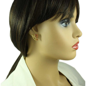 Model with Gold-plated Red Crystal Stylized Heart Pierced Earring - Lilylin Designs