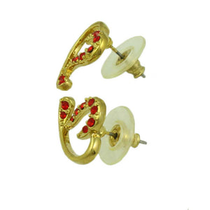 Gold-plated Red Crystal Stylized Heart Pierced Earring (side) - Lilylin Designs