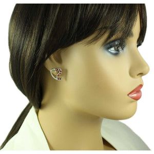 Model with Silver-tone Red Crystal Stylized Heart Pierced Earring - Lilylin Designs