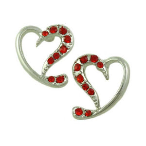 Silver-tone Red Crystal Stylized Heart Pierced Earring - Lilylin Designs