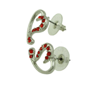 Silver-tone Red Crystal Stylized Heart Pierced Earring (side) - Lilylin Designs
