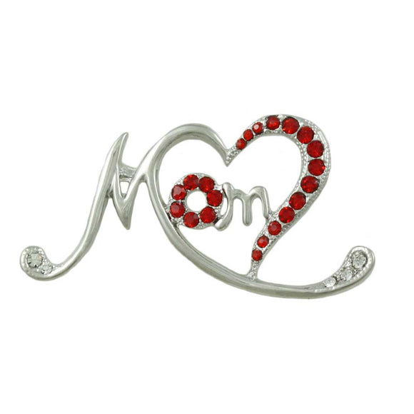 Silvertone Stylized Mom Pin