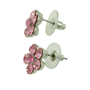 Pink Crystal Daisy with Darker Pink Center Pierced Earring (side) - Lilylin Designs