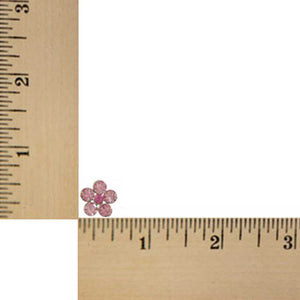 Pink Crystal Daisy with Darker Pink Center Pierced Earring (sized) - Lilylin Designs