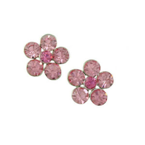 Pink Crystal Daisy with Darker Pink Center Pierced Earring - Lilylin Designs
