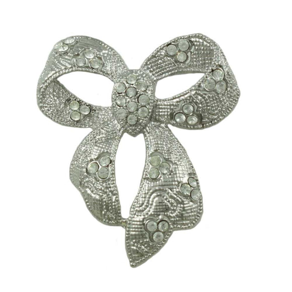 Silver-tone Textured Bow with Clear Crystals Brooch Pin - Lilylin Designs