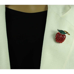 Model with Red Crystal Apple with Crystal Leaf and Stem Brooch Pin - Lilylin Designs