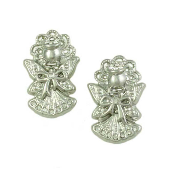 Silver Crystal Angel with Bow and Large Wings Pierced Earring- Lilylin Designs