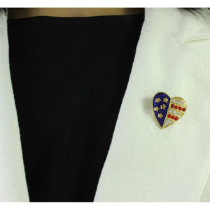 Model with Small Gold-plated Enamel and Crystal Patriotic Heart Brooch Pin - Lilylin Designs