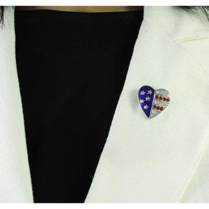 Small Silver Enamel and Crystal Patriotic Heart Pin - PRF353S