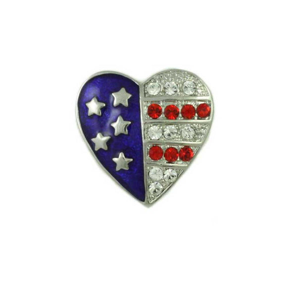 Silver Enamel and Crystal Patriotic Heart Pin - Lilylin Designs