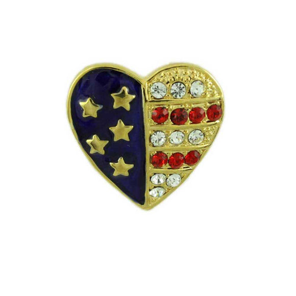 Small Gold-plated Enamel and Crystal Patriotic Heart Brooch Pin - Lilylin Designs