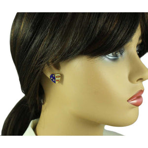 Model with Gold Double Patriotic Heart Brooch Pin and Earring Boxed Gift Set (er) - Lilylin Designs