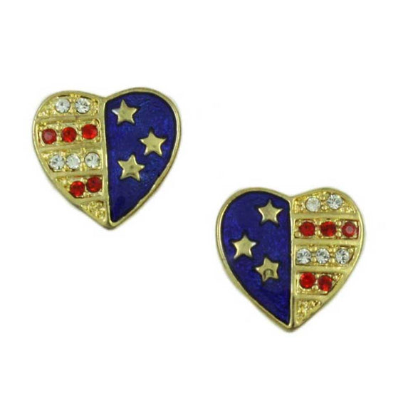 Goldtone Patriotic Heart Earring - Lilylin Designs