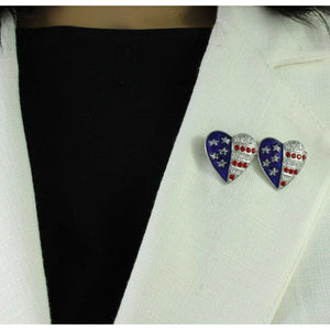 Model with Silver Double Patriotic Hearts Brooch Pin and Earring Gift Set (pin) - Lilylin Designs