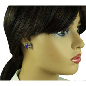 Model with Silver-tone Patriotic Heart Enamel and Crystal Pierced or Clip Earring - Lilylin Designs