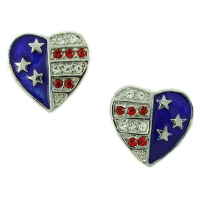 Silver Double Patriotic Hearts Brooch Pin and Earring Gift Set (er) - Lilylin Designs