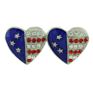 Silver Double Patriotic Hearts Brooch Pin and Earring Gift Set (pin) - Lilylin Designs
