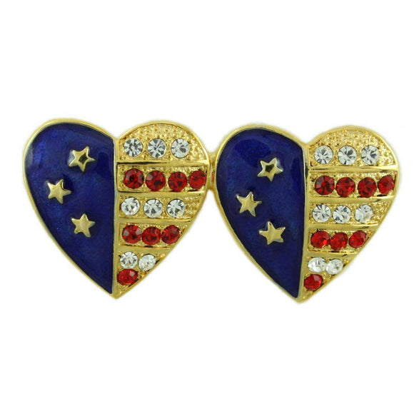 Gold Double Patriotic Hearts Enamel and Crystal Brooch Pin - Lilylin Designs