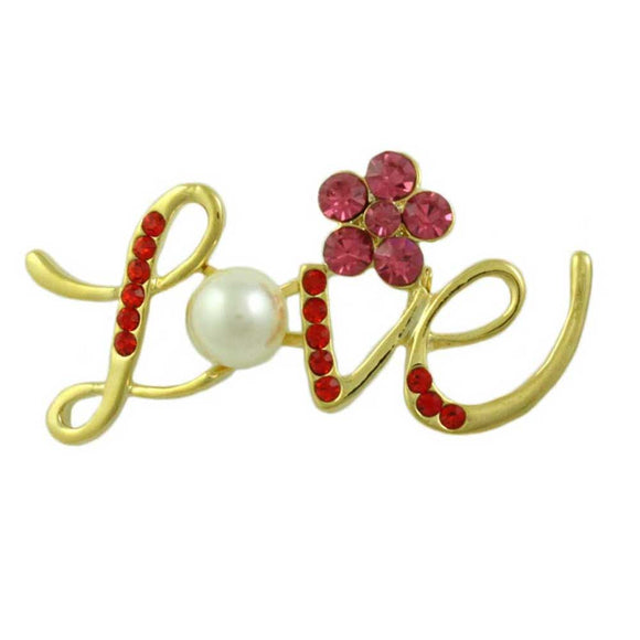 Red Crystal Love with Pearl and Crystal Daisy Brooch Pin - Lilylin Designs