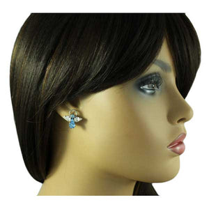 Blue Crystal Angel with Clear Crystal Wings Pierced Earring