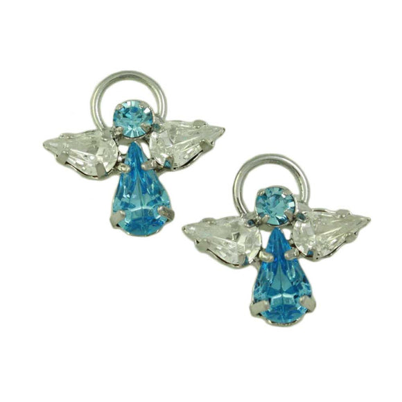 Blue Crystal Angel with Clear Crystal Wings and Silver Halo Pierced Earring - Lilylin Designs