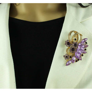 Model with Large Purple Crystal Flower and Marquis Stone Brooch Pin - Lilylin Designs