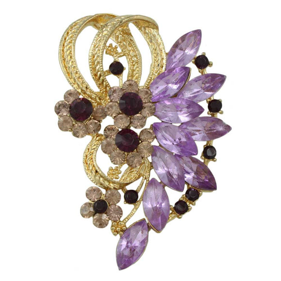 Large Purple Crystal Flower and Marquis Stone Brooch Pin - Lilylin Designs