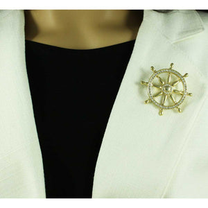 Model with Gold-tone with Clear Crystals Ship's Wheel Brooch Pin - Lilylin Designs